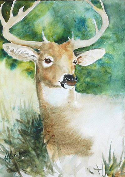 400x565 Deer Painting Forest Spirit Bright Spirit Studio