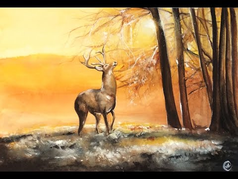 480x360 Watercolor Deer In A Fall Morning Painting Demonstration
