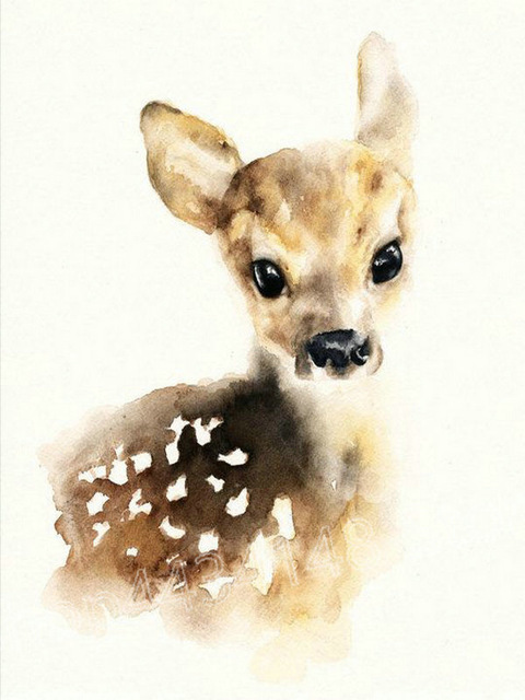 480x640 Watercolor Deer Diamond Embroidery Animal Sewing Handmade Art