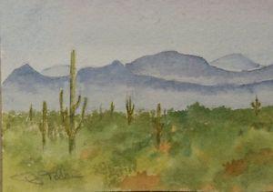 300x211 1214 Orig. Watercolor Arizona Saguaro Cactus Mountains Desert Fog