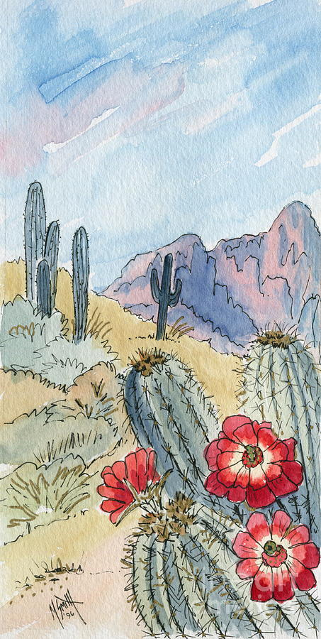 453x900 Desert Scene One Ink And Watercolor Painting By Marilyn Smith