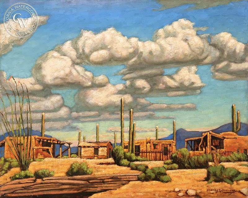800x638 Desert Village, Santa Fe, Original Oil Painting By Frank J