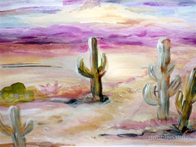 663x497 Desert Watercolor By Debbiepaints