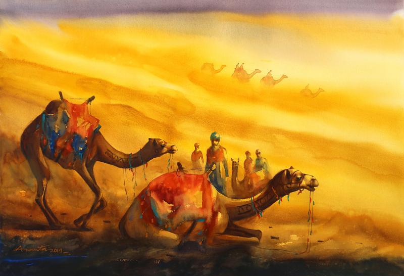 800x546 Golden Desert Ii By Artist Ananta Mandal Landscape Art