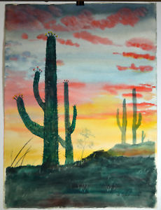 230x300 20 Vintage Watercolor Painting Desert View Cactus Summer Red Hot