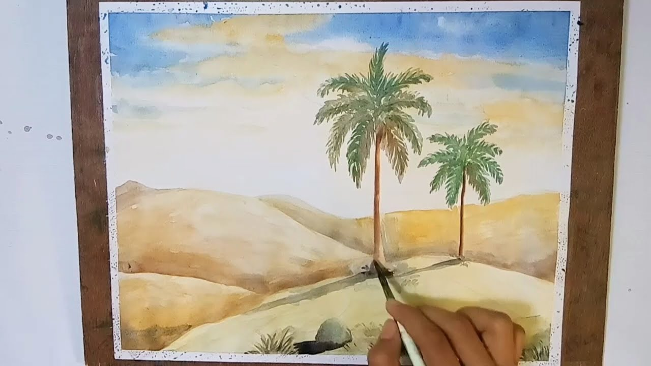 1280x720 How To Painting A Desert Sceneary With Watercolor .step By Step
