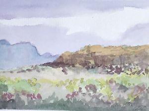 300x225 Original Watercolor Painting Desert Nevada Signed Landscape