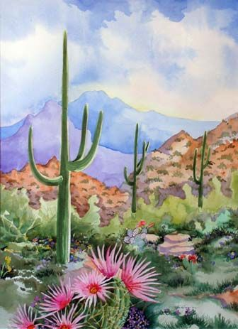 336x463 Original Watercolor Painting Of The Arizona Desert Landscape