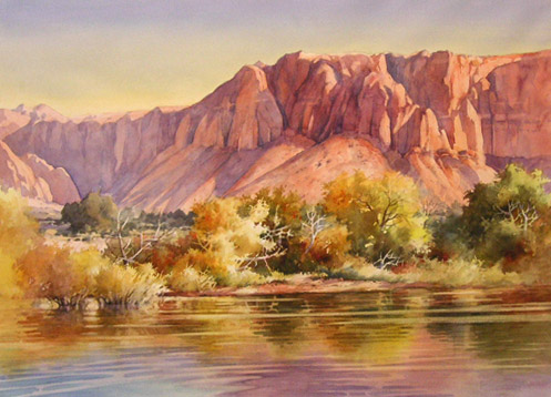 497x358 Roland Lee Travel Sketchbook Desert Reflections Watercolor Painting