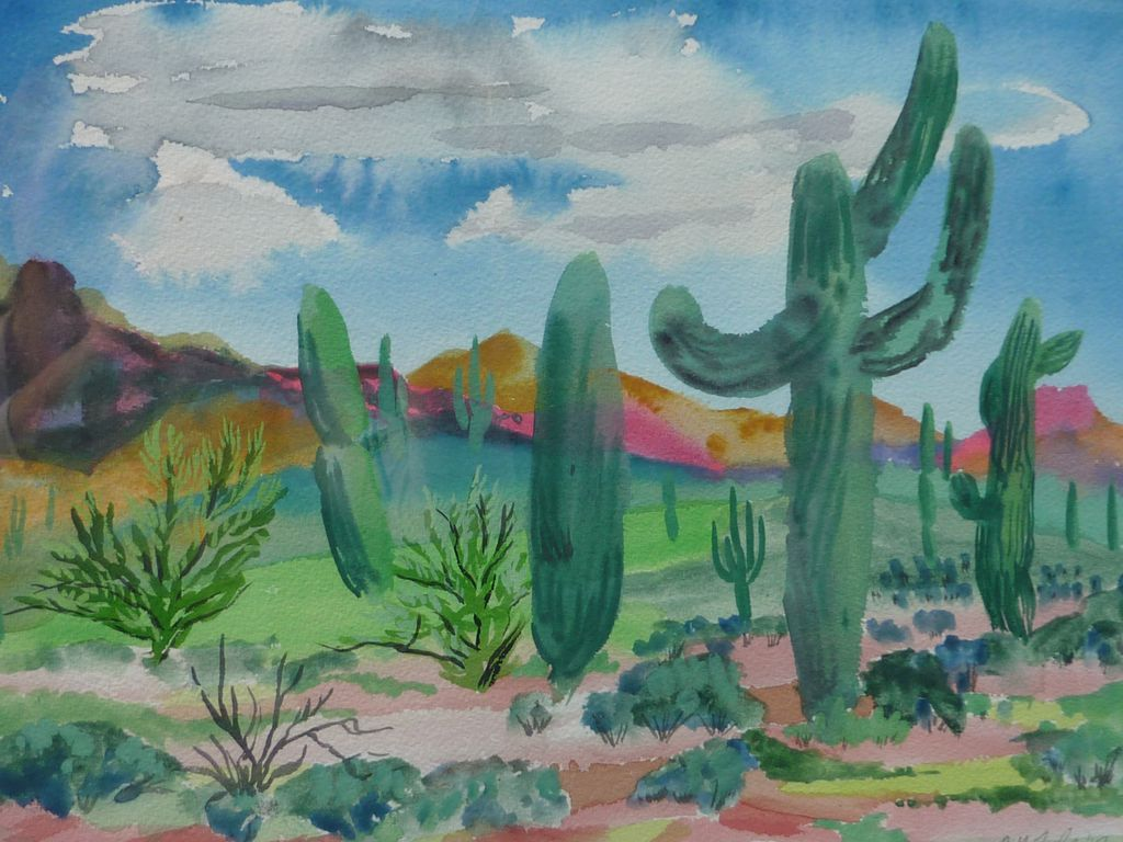 1024x768 Southwest Desert Watercolor Painting By Listed Artist Catherine
