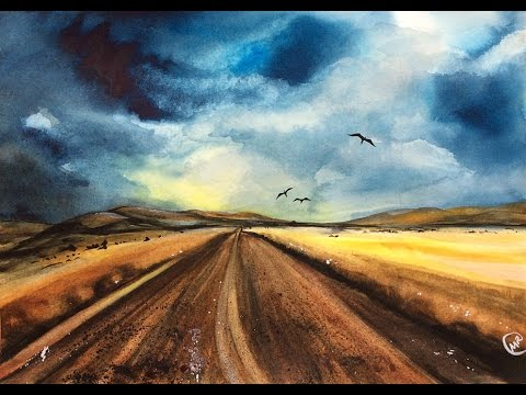480x360 Watercolor Desert Road Real Time Painting Demonstration