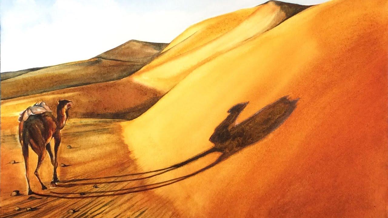 1280x720 Watercolor Sahara Desert Painting Demonstration