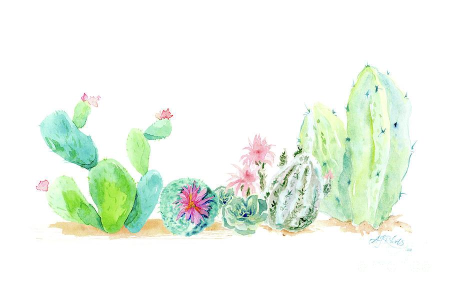 900x578 Desert In Bloom 2, Watercolor Desert Cacti N Succulents Painting