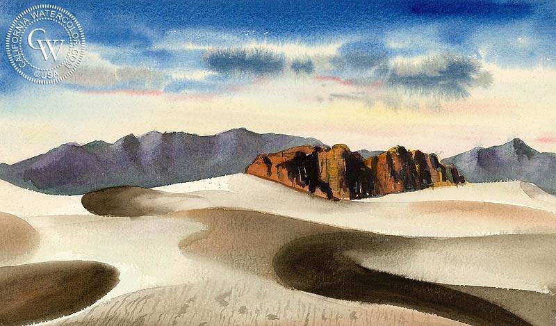 800x469 Desert Landscape, C. 1938, Art By Jake Lee California Watercolor