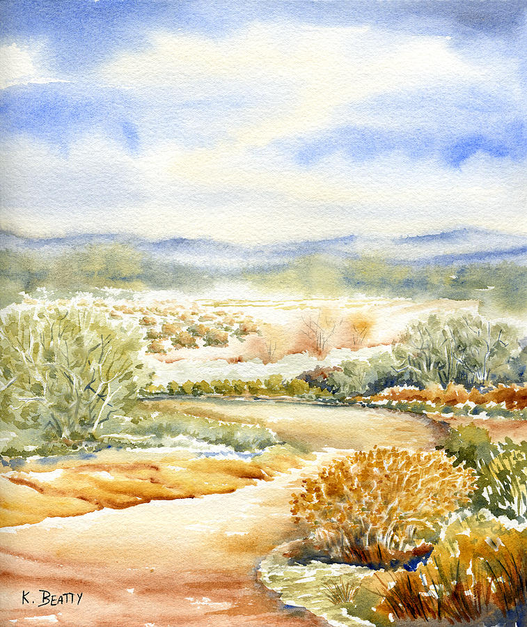 757x900 Desert Landscape Watercolor Painting By Karla Beatty