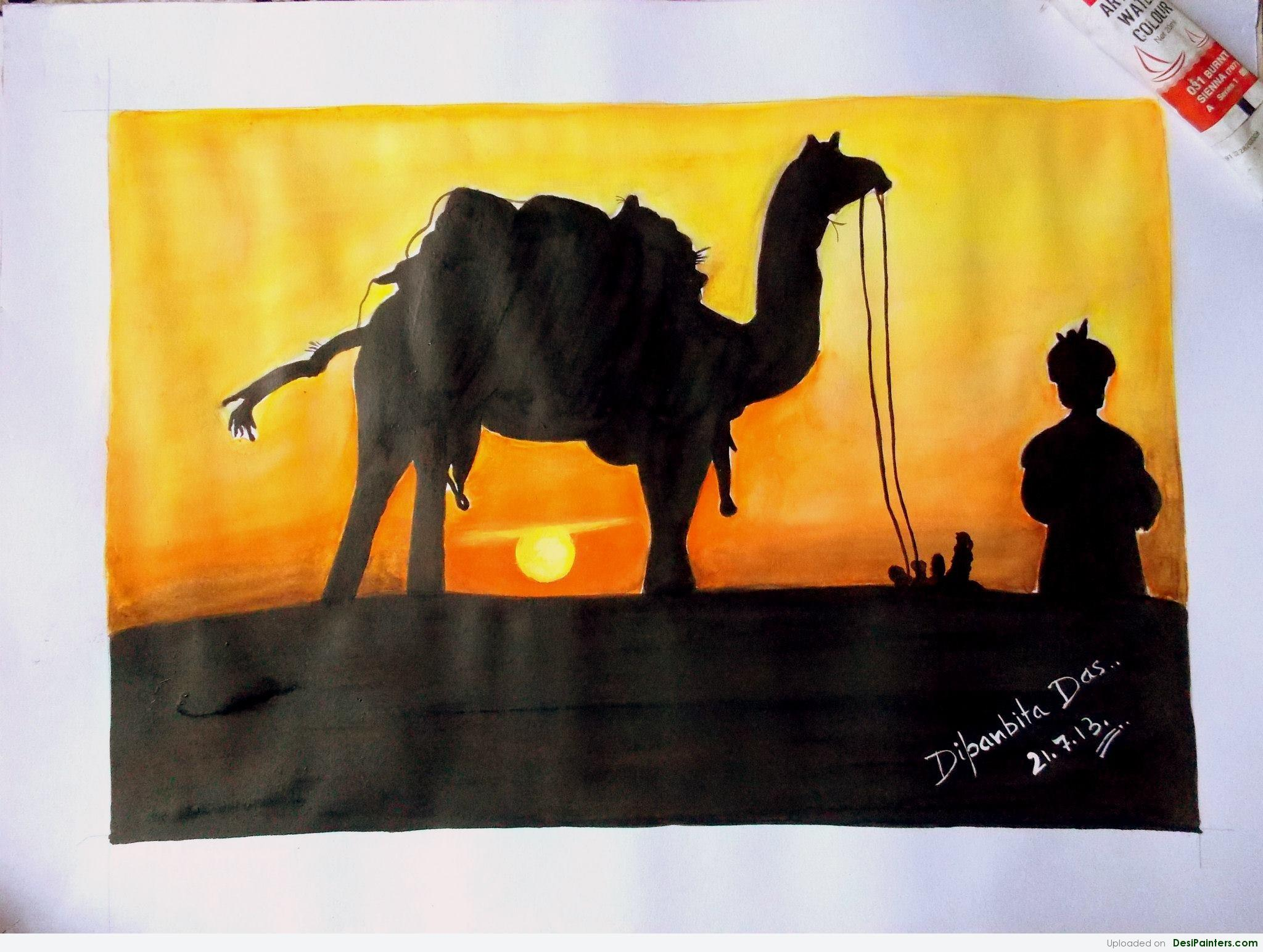 2048x1544 Watercolor Painting Of Sunset In Desert