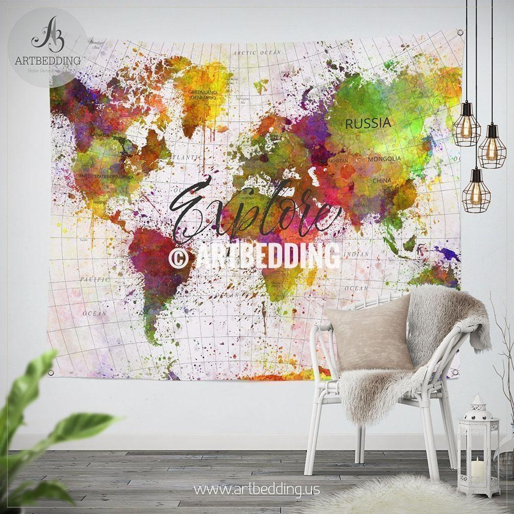 1000x1000 Expore World Map Wall Tapestry, Detailed World Map Watercolor Wall