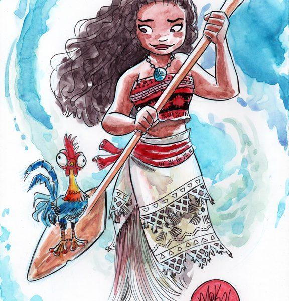 576x600 Moana Watercolor Art Coloring Page