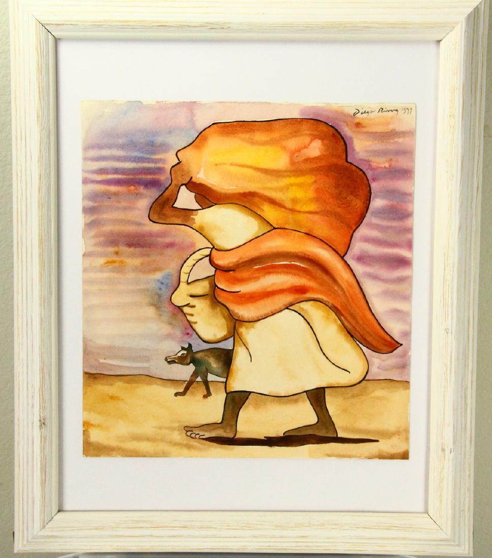 969x1100 Diego Rivera Original Watercolor On Paper Wcoa