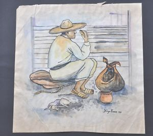 300x266 Diego Rivera Watercolor Drawing Signed And Dated Ebay