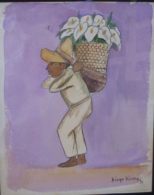 600x761 4783a Diego Rivera Original Watercolor W Coa Mexican