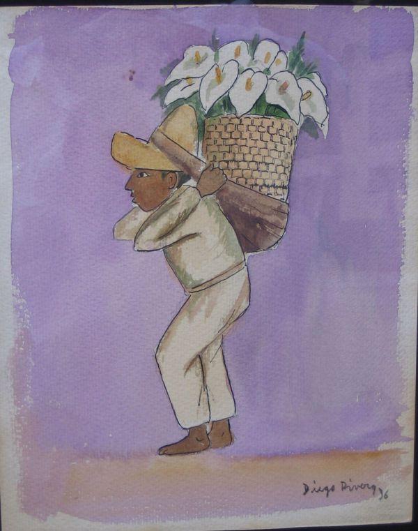 600x761 4783a Diego Rivera Original Watercolor W Coa Mexican