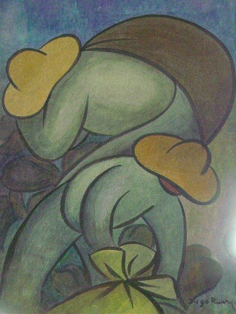 480x640 Watercolor Farm Peasants Signed Diego Rivera