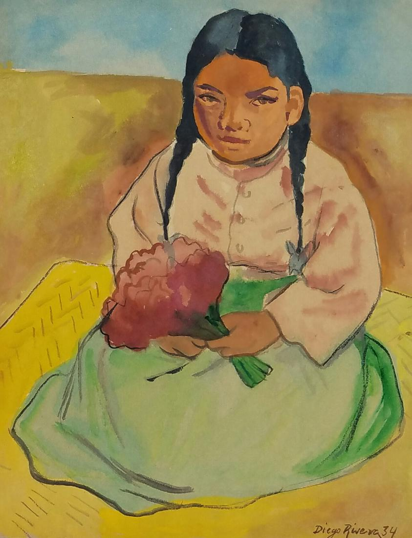 843x1100 Signed Diego Rivera Watercolor On Paper