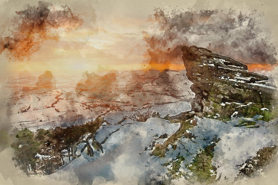 900x600 Digital Watercolor Painting Of Sunset Over Snow Covered Winter