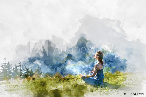 500x333 Young Woman Practice Yoga. Digital Watercolor Painting