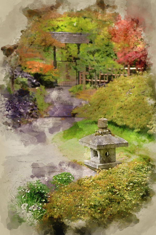 600x900 Digital Watercolor Painting Of Japanese Zen Garden Landscape