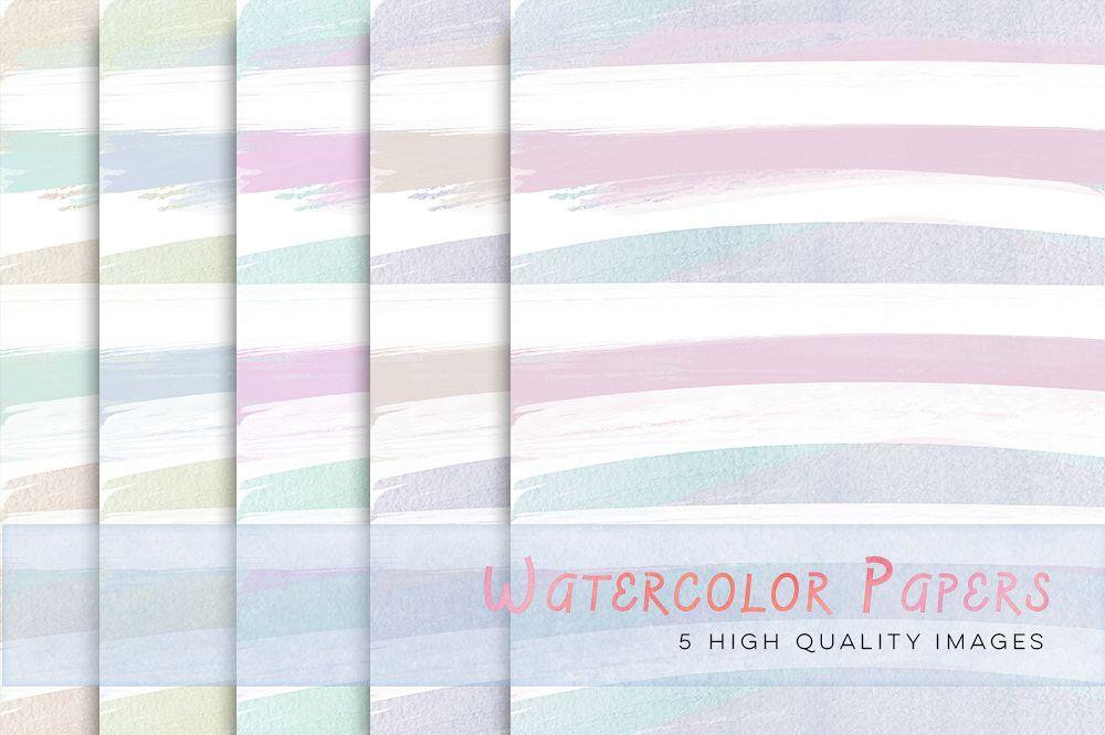 1000x666 Pastel Watercolour Stripes Digital Papers, Pastel Digital Papers