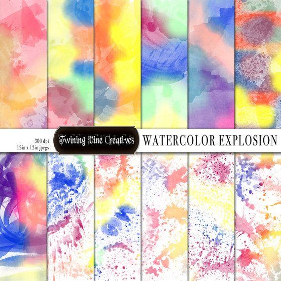 570x570 Rainbow Watercolor Digital Papers Digital Watercolor Paper