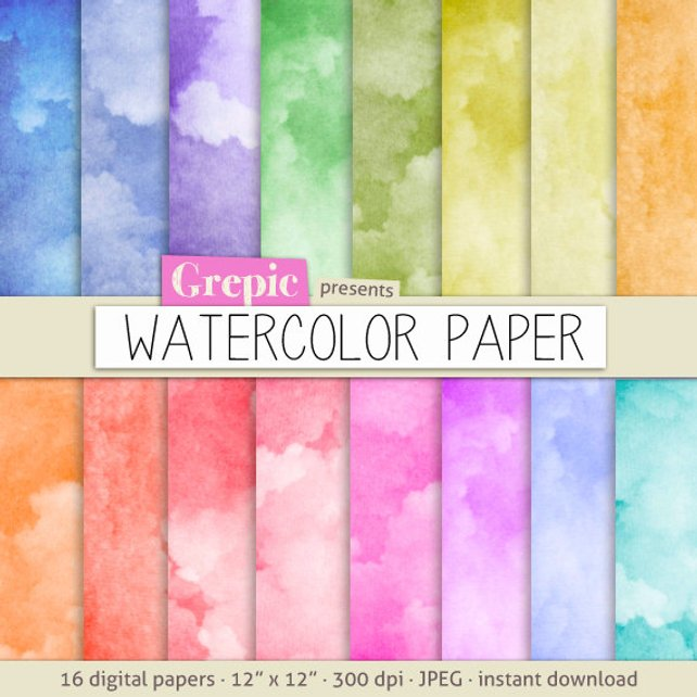 642x642 Watercolor Digital Paper Watercolor Paper With Etsy