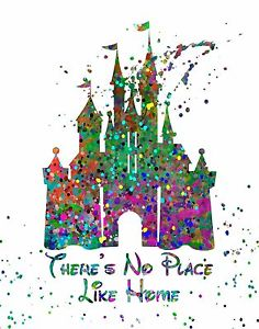236x300 Abstract Watercolor Splatter Silhouette Art Print Disney Castle
