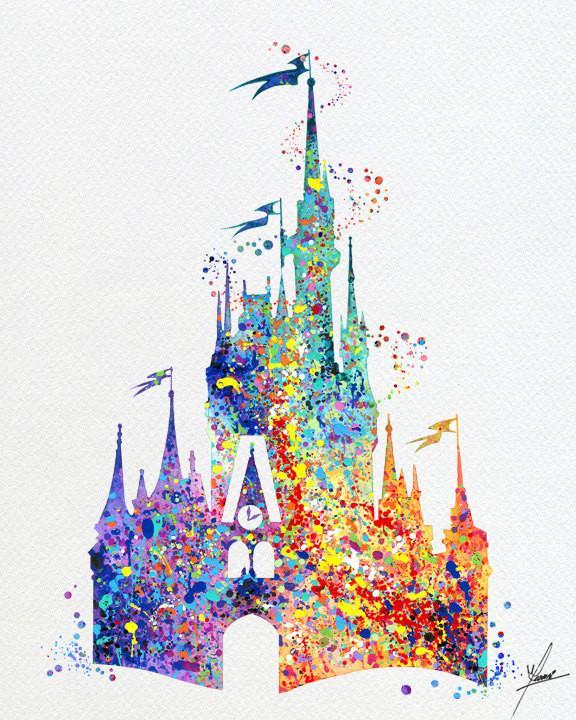 576x720 Cinderella Castle Princess Story Inspired Watercolor Print Wall