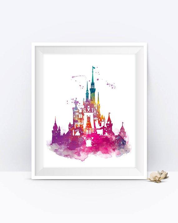 570x713 Cinderella Castle Watercolor Print Magic Kingdom Disney Art Etsy