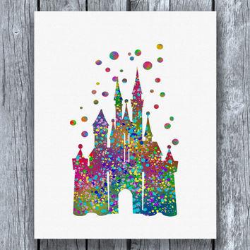 354x354 Cinderella Disney Castle Watercolor Art From Allartprints