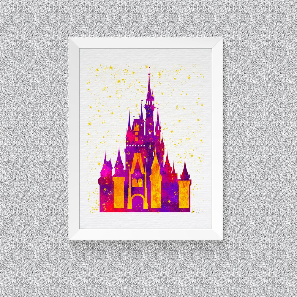 1000x1000 Cinderella Castle Inspired, Princess Castle, Watercolor Print, Art