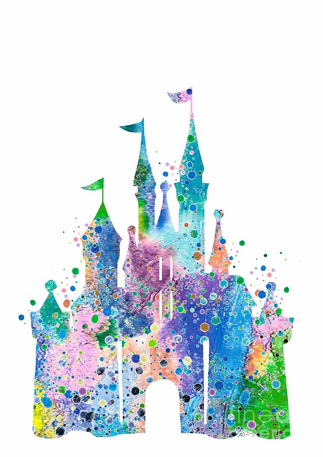 636x900 Disney Castle 2 Watercolor Print Digital Art By Svetla Tancheva