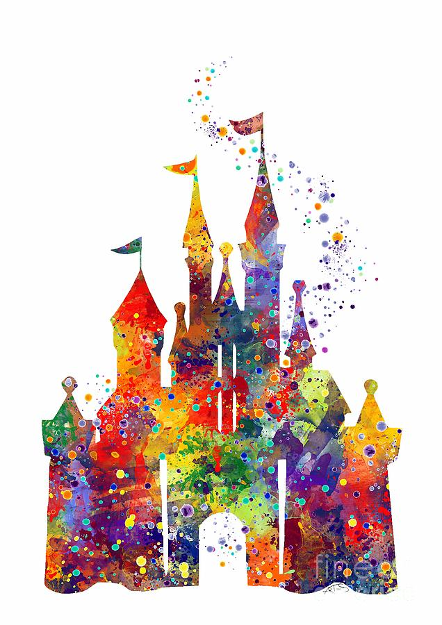 636x900 Disney Castle 6 Watercolor Print Digital Art By Svetla Tancheva