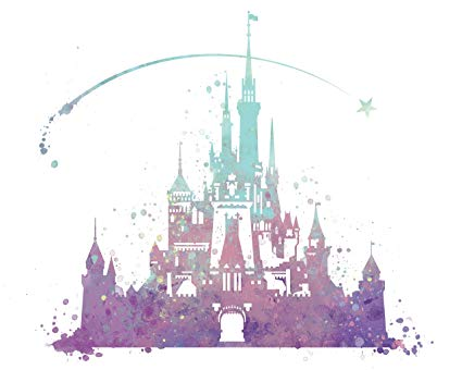 425x340 8x10 P02 Disney Castle Poster. Inspired Watercolor