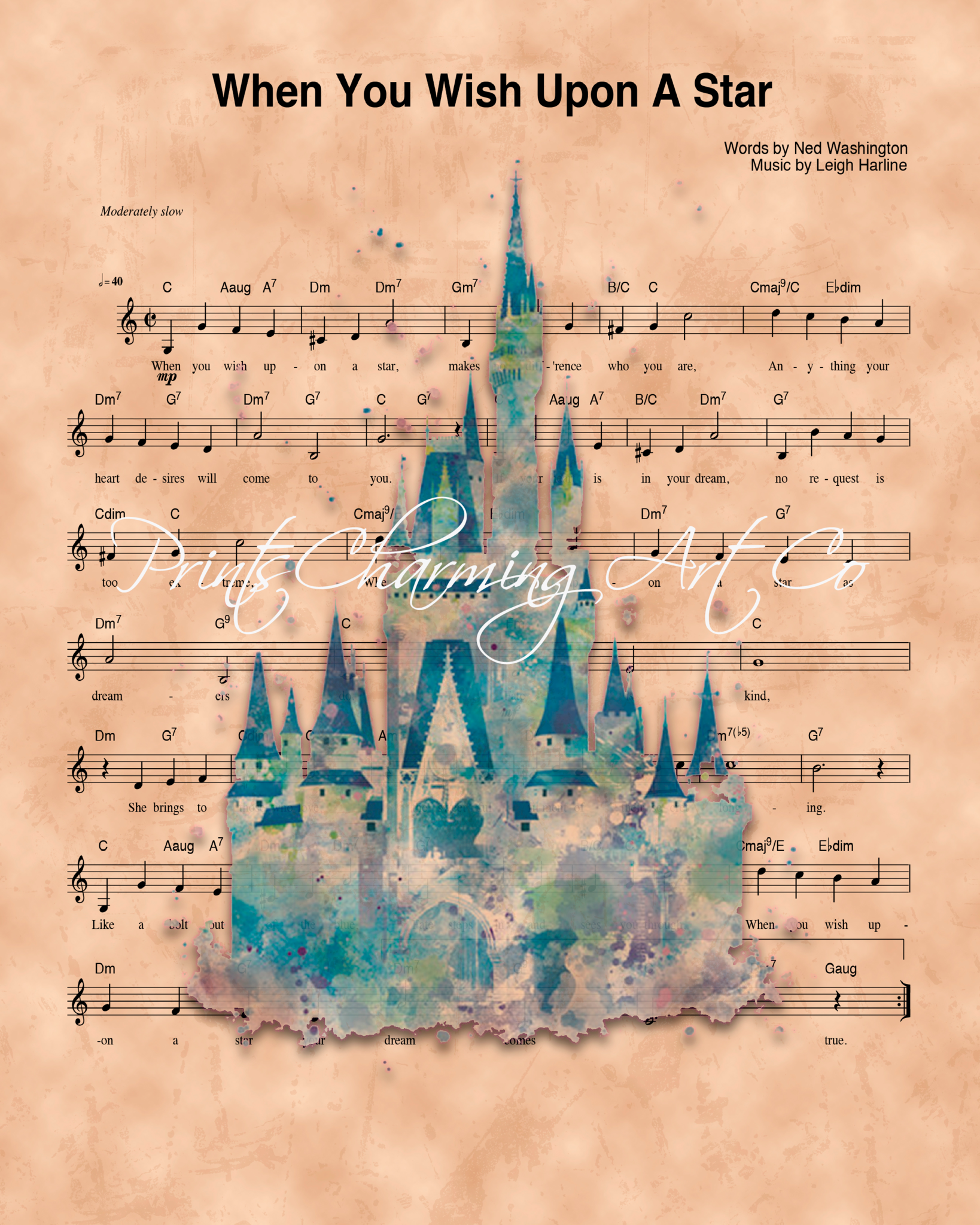 1638x2048 Disney Castle Watercolor, When You Wish Upon A Star Sheet Music