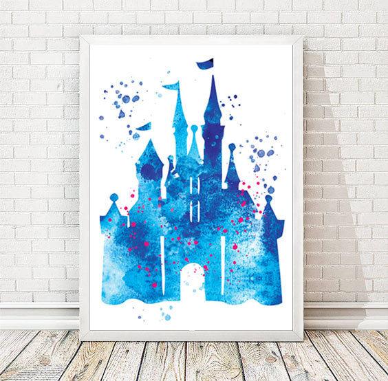 564x554 Disney Castle Watercolor Art Print Disney Cinderella