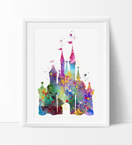 547x600 Disney Castle Watercolor Print, Disney Art Print, Disney Castle
