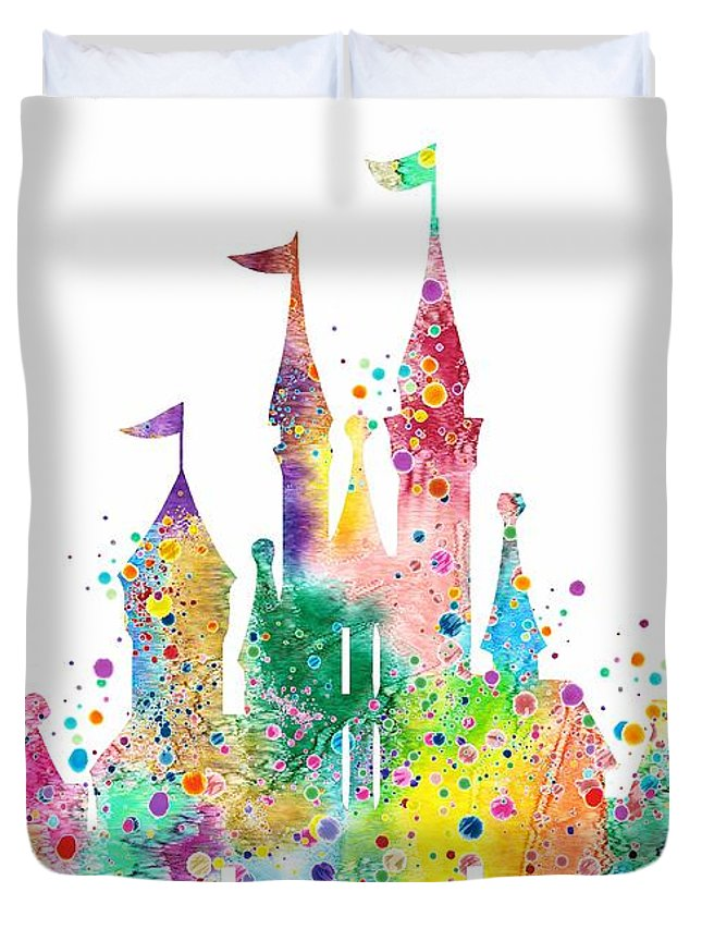 645x853 Disney Castle Watercolor Print Duvet Cover For Sale By Svetla Tancheva