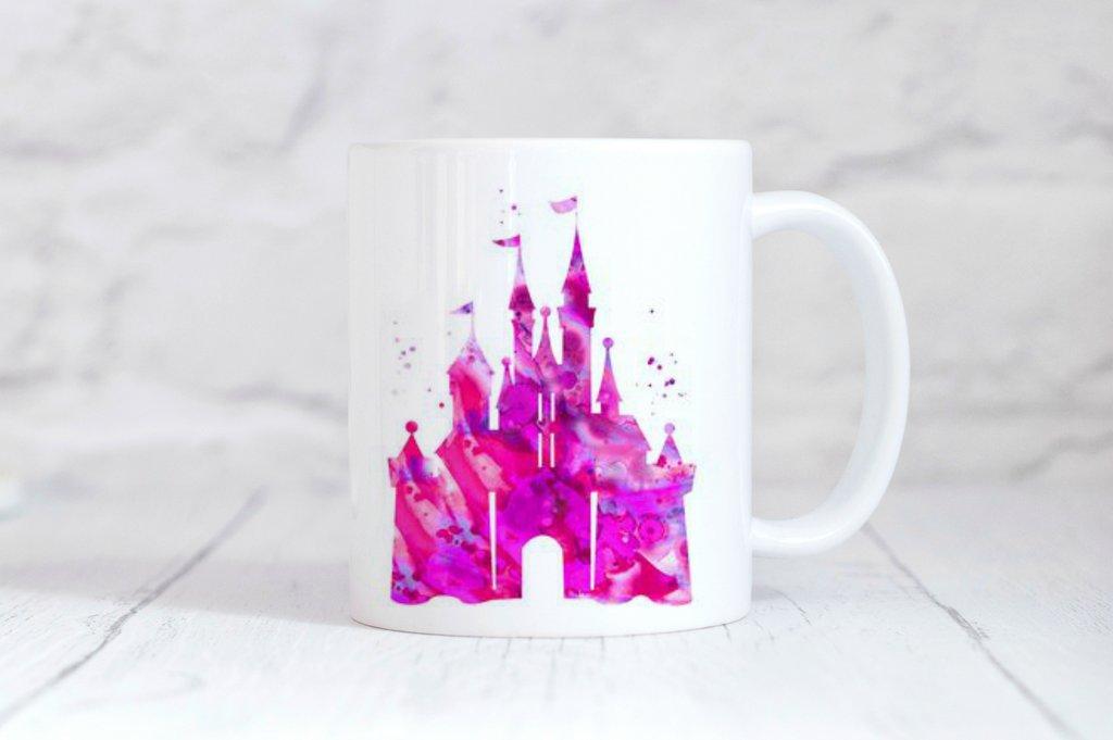 1024x681 Pink Disney Castle Watercolor Coffee Mug Simply Crafty