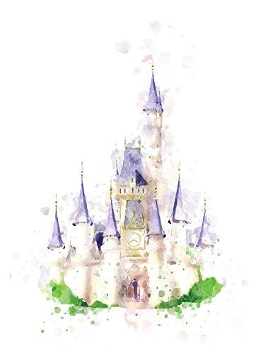 386x500 Disney Castle Watercolor Print 8 X 10 Wall Decor