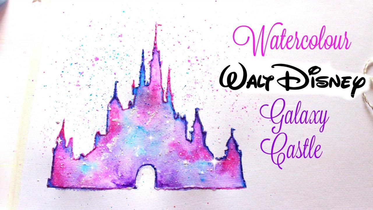 1280x720 Simple Walt Disney Castle Galaxy Watercolor Tutorial