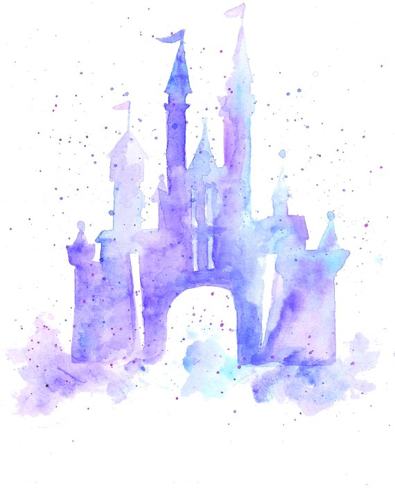 570x713 Walt Disney World Cinderella Castle Watercolor Print Etsy